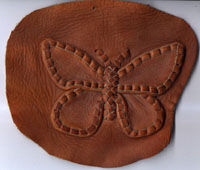 A leather butterfly - this is one of the first appliques I ever used and it continues to be popular.