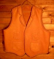 cowboy leather vest with four pockets