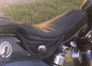 custom leather motorcycle seat braided
