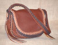 braided multi-colored custom leather shoulder bag with a double flap