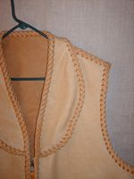 the shawl collar of this elkskin vest
