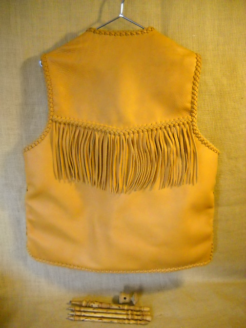 handmade leather vest with fringe