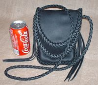 Here is another front view of the same bag - set beside a cola can for size reference.