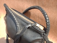 This top view shows the large brass zipper (#10 YKK) that is hand sewn using 5 ply nylon thread.